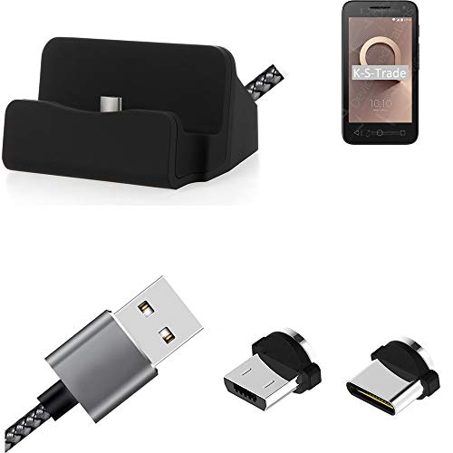 K-S-Trade Base Et Soporte De Charga Chargador Estacion Alcatel U3 2018 Conexión Magnética con Un Conector USB Tipo C Y Un Conector Micro USB 3A, 1x