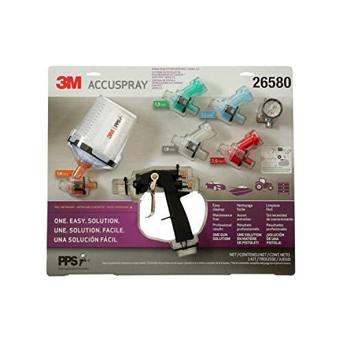 3M Accuspray Paint Spray Gun System with PPS 2.0, 26580, Standard, 22 Ounces, Use for Cars, Furniture, Cabinets and More, 1 Paint Gun,1 Paint Cup,5 Disposable Lids and Liners,5 Nozzles,3 Sealing Plugs