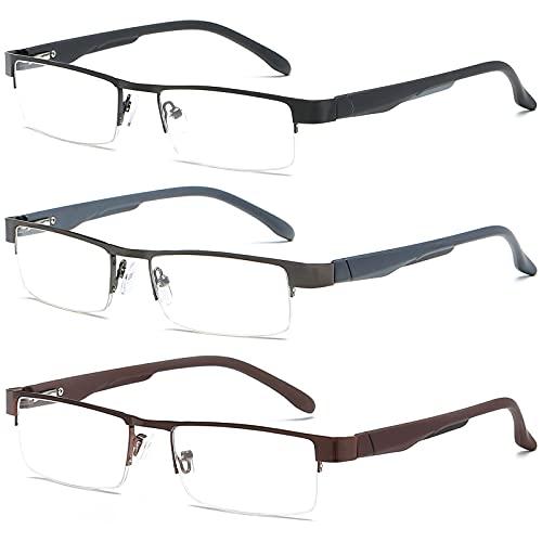 VEVESMUNDO Lesebrillen Herren Damen Klassische Metall Halbrandbrille Lesehilfe Federschaniere Klar Brille Augenoptik Vintage Sehhilfe Arbeitsplatzbrille Sehstärke (3 Lesebrillen, 2.5)