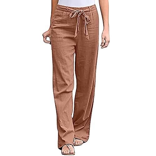 Blivener Linen Pants for Women Elastic Waist with Belt Summer Casual Cotton Pants Khaki
