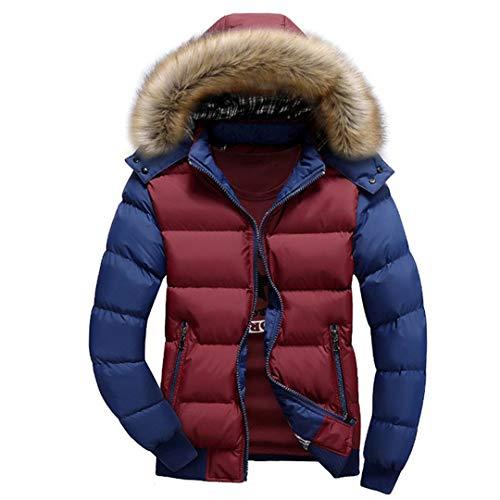 Manteaux épais pour Hommes d'hiver à Capuchon en Duvet Parka Chaud Vestes de Mode pour Hommes Pardessus Red Blue 5XL