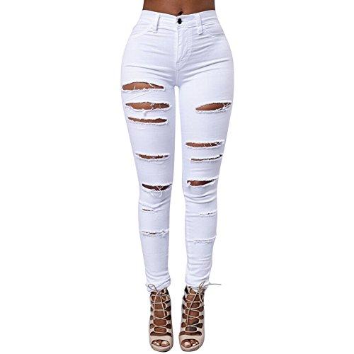iBaste Jeanshose Damen Stretch Hose Zerrissen High Waist Bleistifthose Jeans Hose Skinny Hochbund Röhrenjeans Lässige Hosen-WT-S
