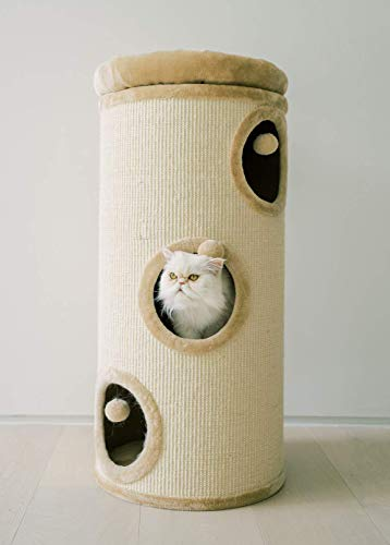 """PAWMONA 37"""" 3 Story Cat Tree Condo Barrel Tower 