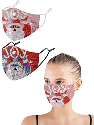 Fashion Adjustable Christmas Glitter Cloth Mask for Women,Reusable Sparkle Sequin Xmas Face Coveing with Fliter Pocket (red and Pink Santa)