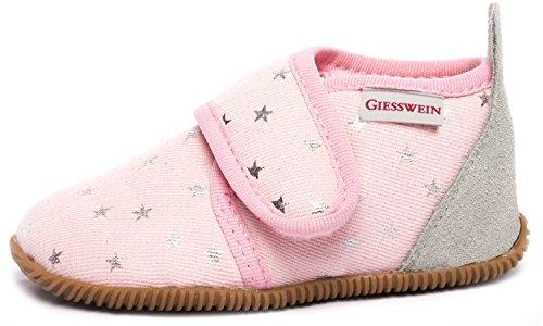 GIESSWEIN Kinder-Hausschuhe Salsach - Mädchen Pantoffeln mit Klettverschluss, rutschfeste Lauflern-Schuhe mit Innen-Sohle aus Leder, Slim-Fit