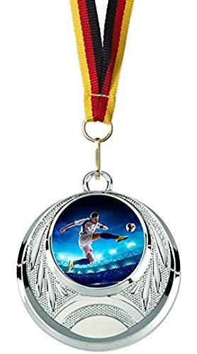 Verlag Reiner Kullack 10er-Set Fußball-Medaillen mit 25 mm Foto-Emblem (Folie, bunt), Medaille mit Band für Turnier oder als Mitgebsel für Kindergeburtstag
