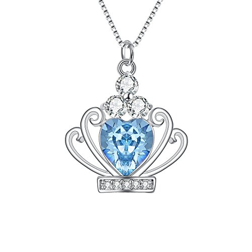 BriLove 925 Sterling Silver Crown Necklace for Women,CZ Heart Princess Crown Pendant Necklace Aquamarine Color March Birthstone