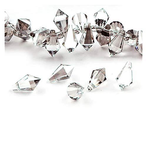 WESET 10pc Mix Color 6x12mm Charms AB Crystal Punta de lágrimas con Punta de lágrima Facetada Beads Accesorios para Mujer (Color : Transparent Gray)