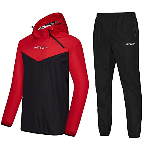 HOTSUIT Sauna Suit for Men Sweat Sauna Jacket Pant Gym Workout Sweat Suits, Red,...
