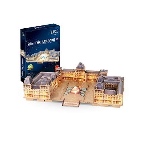 Kw-tool Puzzle 3D Building,Paris Louvre construcción de Modelo con iluminación LED, Regalos de cumpleaños para niños y niñas de 137 pcs