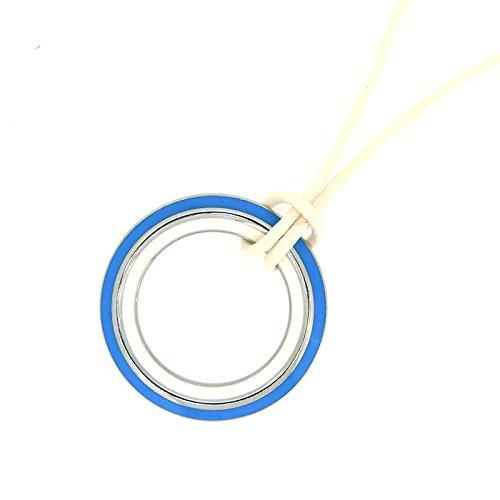 XEN Collier mit 40 mm Anhänger Keramik blau/weiß 90 cm 80