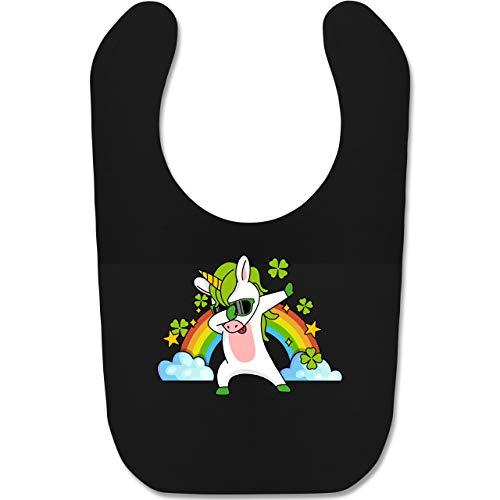 Shirtracer Anlässe Baby - Dabbendes Einhorn Kleeblatt Regenbogen - Unisize - Schwarz - BZ12_Baby_Lätzchen - BZ12 - Baby Lätzchen Baumwolle