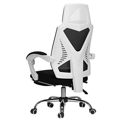 Comif-Chaise de bureau inclinable avec Repose-Pieds, Chaise d'ordinateur de Bureau, Fonction inclinable à 155 °, Technique d'équilibre corporel/Fatigue réduite (Noir, Blanc)