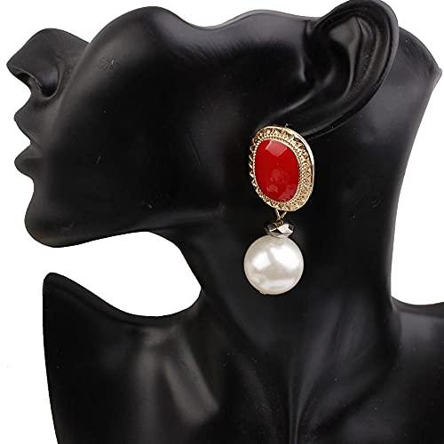 YiXing Pendientes de perlas de imitación vintage, pendientes de boda, fiesta, pendientes de gota para mujer (color metálico: rojo)