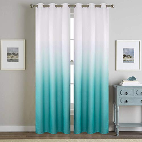Turquoise Curtains for Living Room 2 Panels Insulated Teal Curtains 84inches Length Faux Linen for Kids Bedroom Window Treatment Draperies Aqua White Semi Blackout