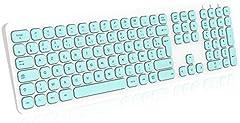 cimetech - Teclado inalámbrico de 2,4 GHz con teclado digital, tamaño completo, para tablet, ordenador portátil, ordenador individual, color blanco y azul