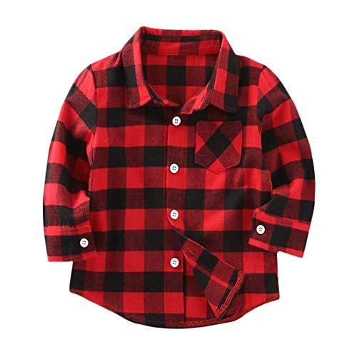 Kids Little Boys Girls Baby Long Sleeve Button Down Red Plaid Flannel Shirt Plaid Girl Boy NB-6T(18-24 Months, Red)