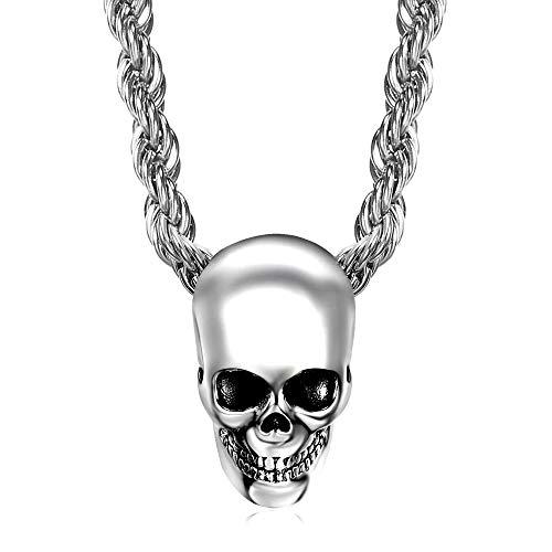 Bobijoo Jewelry – hanger biker kleine schedel staal verchroomd zilver doodskop grote ketting 45 cm