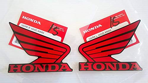Honda 86201-K26-A00ZD / 86202-K26-A00ZD - Honda Wings Fuel Tank Gas Tank Stickers Decals 2 X 85MM Red/Black Left & Right Genuine