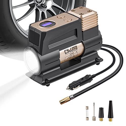 DSV Standard {2021} Digital Single Cylinder Portable Air Compressor 150PSI Tire Inflator with Auto Shut Off, 12V DC Air Pump for Car Tires with Digital Pressure Gauge and Upgraded Led Light