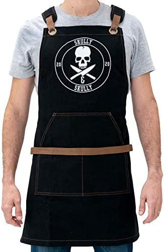 Aprons for Men BBQ Aprons for Men Grilling Canvas Apron with Pockets and Skull Design Black product image