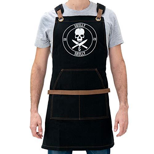 Aprons for Men - BBQ Aprons for Men - Grilling Canvas Apron with Pockets and Skull Design (Black & Brown) - Cooking Chef Apron for Men - Grilling Gifts for Men - Cross Back Kitchen Aprons for Men