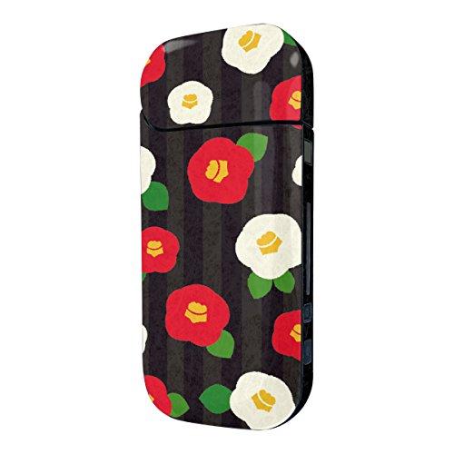 Biijo アイコス シール iQOS シール 表裏 側面 両面 全面対応 ボタンシール付き 椿 花柄 かわいい (H.黒)