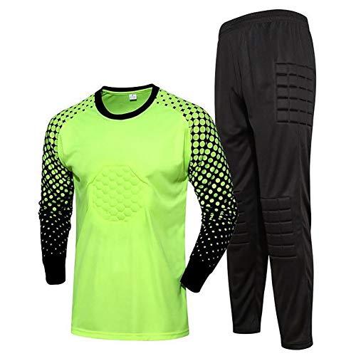 YSPORT Antikollisions Fußball Torwart-uniform Kind Und Erwachsener Lange Ärmel Gepolstert Tops + Hosen Trainings (Color : Fluorescent Green, Size : 28)