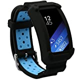 Wonlex Band for Samsung Gear Fit2 / Fit2 Pro, Silicone Replacement Watch Bands Strap Compatible with Galaxy Gear Fit2 SM-R360 & Fit 2 Pro for Women & Men (Black/Blue)