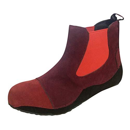 ZODOF botas planas mujer Pisos bota Cómodo Punta redonda Ponerse Tacón bajo Calzado informal Botines de tobillo botas senderismo mujer(rojo,39 EU)