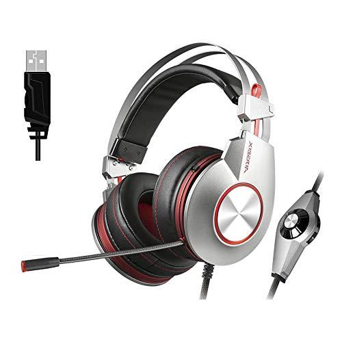 Fulltime XIBERIA K5 Gaming Music Kabelgebundenes Headset Leichte Kopfhörer Flexibles Mikrofon mit Geräuschunterdrückung, speziell für Komfort, Langzeitspiele, Silber (Silber)