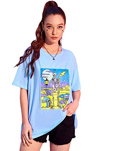 Women Halloween T-Shirt O Neck Short Sleeve Graphic Tees Halloween Printed Funny Tops Loose Plus Size Shirts