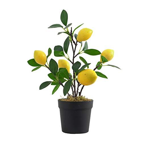 Imitation Plants Artificial Flowerpot Lemon Bonsai Mini Plastic Artificial Green Plant for Indoor Outdoor Wedding Office Decoration