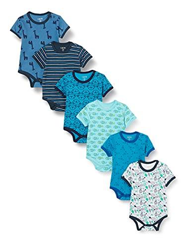 Care Baby Strampler - Kurzarmbody Junge und Mädchen,6-er pack Blue (Dress Blues 772),98