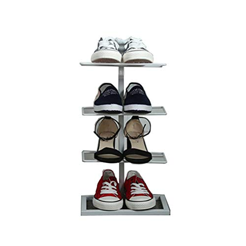 Quatre-couche chaussure rack fer forgé simple maison de stockage de chaussures rack économie simple armoire à chaussures,White