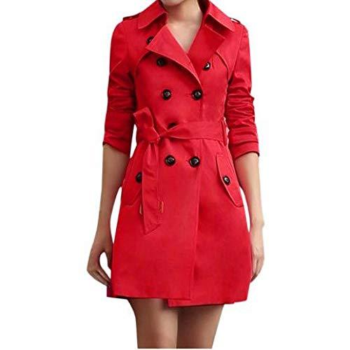 Nobrand Trenchcoat Fashion Langarm Knopf Frühling Damen Regenmantel Casual Pocket Damen Windbreaker Plus Size Long Coat Women Gr. XXL, rot