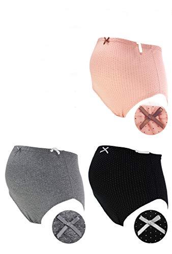 ローズマダム 肌にやさしい マタニティショーツ 綿100%でノンストレスの履き心地 ウエストゴム調整 お得な3枚組 7309 C-ピンクドット、グレードット、ブラックドット L-LL