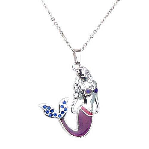 Collar de Cristal Azul de Sirena Estado de ánimo Cambio de Color Termo Líquido Colgante