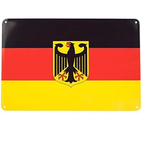 Blechschild Deutschland Flagge Adler | Metall, 20x30 cm | Wand Dekoration | Germany Bundeswehr Schild
