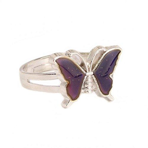 Niedlicher, die Farbe wechselnder Stimmungs-/Gefühlsring mit Schmetterlingsmotiv, verstellbar, Liebesgeschenk