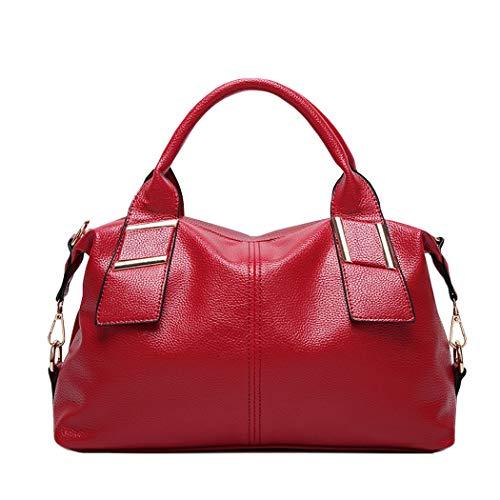 TEBIEAI Mujer Bolsos Bandolera Vestir Bolsos de Mano Convertible Casual de Hombro TEES71209 Rosa Roja