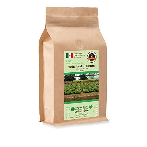 Kaffee Globetrotter - Kaffee Mit Herz - Mexico Finca Las Chicharras - 1000 g Grob Gemahlen - für Stempel-kanne French-Press Kaffeebereiter - Spitzenkaffee Fair Gehandelt Unterstützt Soziale Projekte