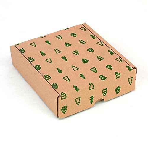 Pack 4 cajas cartón envíos postales | cajas automontables paquetería embalaje Navidad | Medidas caja regalo 15,4x13x4 cm (largoxanchoxalto) | cartón ecológico 100% reciclado