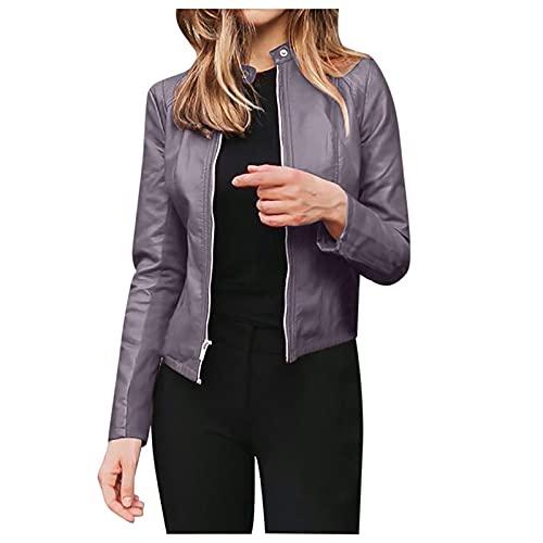 Baiomawzh Jacke Damen Lederjacke Frauen Kunstlederjacke mit Zip Damen Offene Front Lederjacke PU-Leder Bikerjacke Lässige Bikerjacke Sakko Jacket Coat