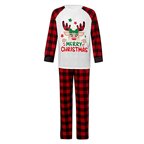 Matching Family Pajamas Sets Christmas PJ's with Deer Long Sleeve Tee and Pants Loungewear