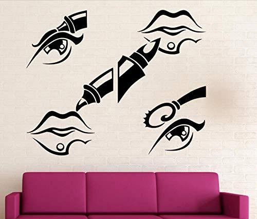 Autocollants Muraux Décalcomanies Filles Beauté Salon Vinyle Maquillage Femme Chambre Cosmétiques Lèvres Rouge À Lèvres Mascara Art Mural 42X66 cm