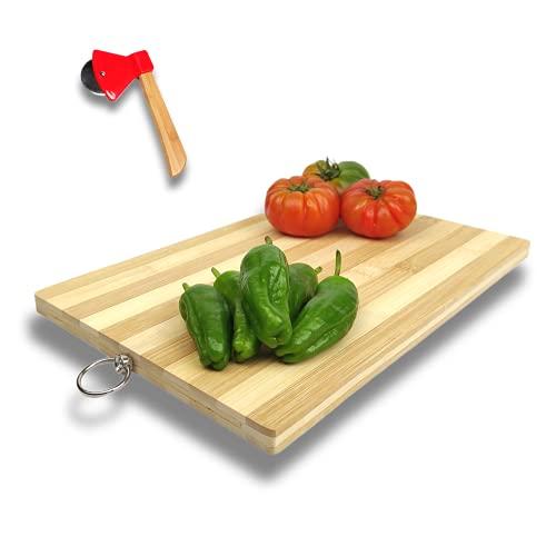Pack»Cortapizzas Hacha de bambú Rueda Cuchillo de Acero Inoxidable+Tabla de Cortar Cocina de Bambú Natural para Carne Pescado Queso Verduras (HACHA+TABLA)
