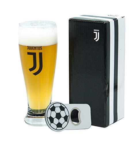 Generico Bicchiere Birra Tifoso Juventus con Stemma Bianconero, Prodotto Ufficiale, Bicchiere capacità 415ML, con Apribottiglie Calamita, Completo di Scatola bianconera