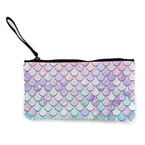 Monedero de lona de color rosa pastel de sirena, monedero de viaje y maquillaje con mango, bolsa de lona con cremallera, bolsa de aseo portátil