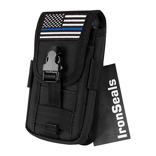 """IronSeals AQ Tactical Cell Phone Holster Pouch, Tactical Smartphone Pouches EDC Cellphone Case Molle Gadget Bag Molle Attachment Belt Holder Waist Bag for 4""""-5.7"""" with Armor Case on with US Flag Patch"""